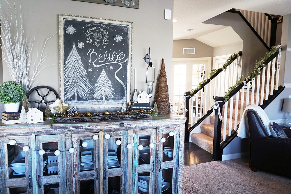EH Design Blog - Home for the Holidays 2017 Christmas Tour - Eat-in Hutch - Full View including Stairs