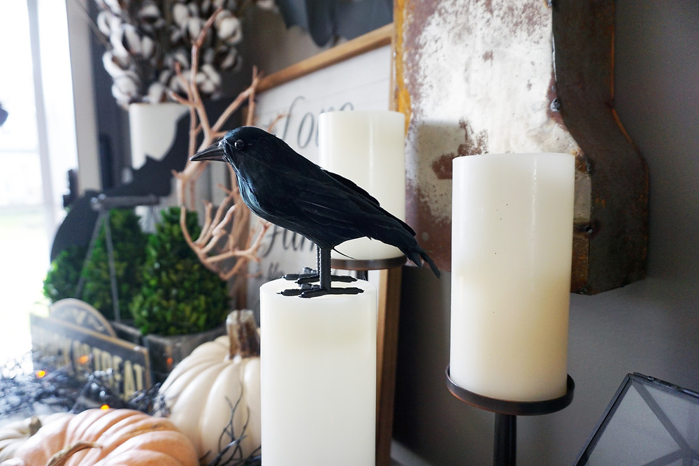 EH Design Blog - Halloween Decorations - Raven on Candle at Entry