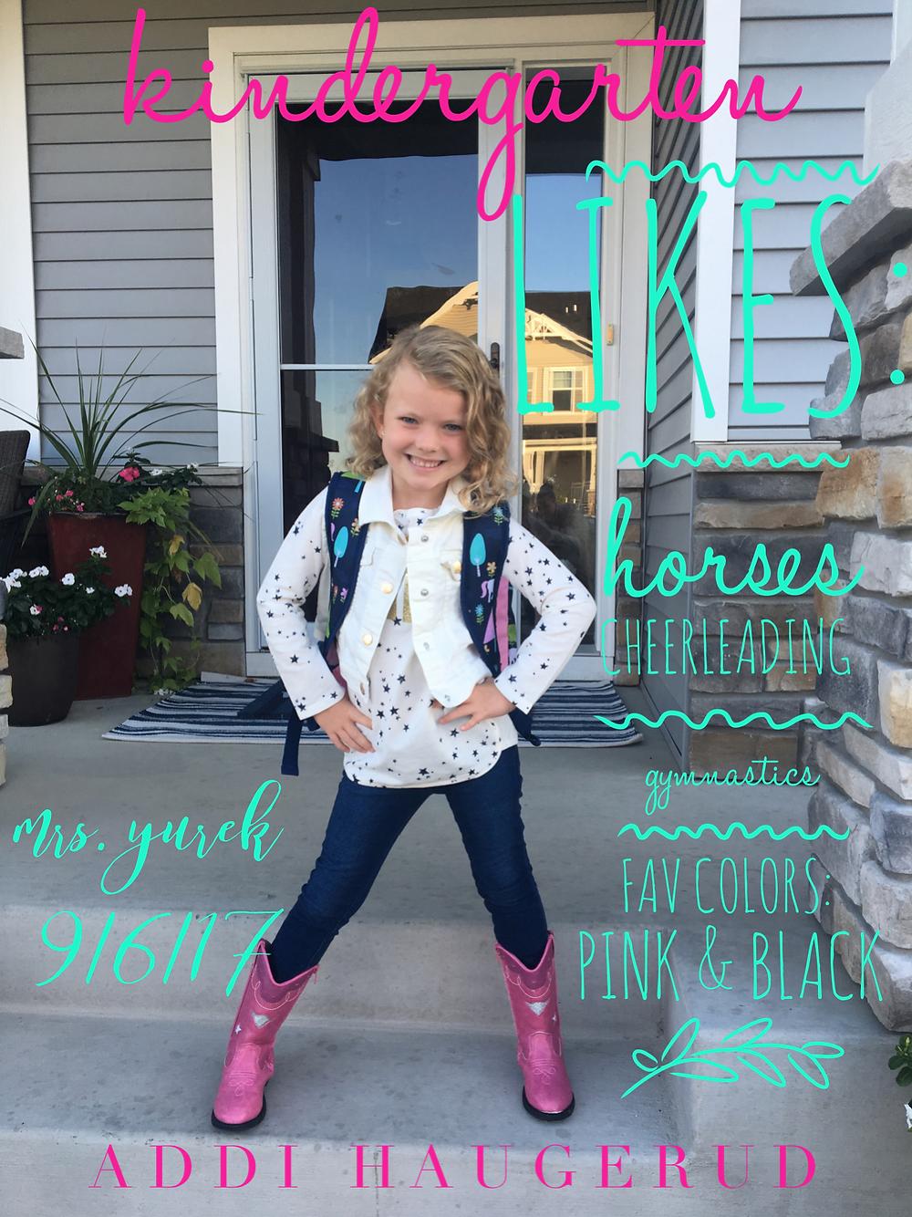 Addison Haugerud before her first day of kindergarten