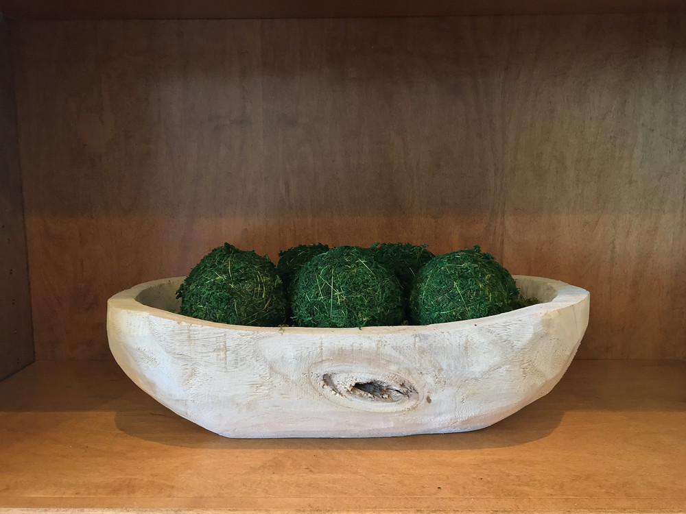 EH Design Blog - The Many Faces of Moss - Example with small Moss balls in natural wood bowl on shelf
