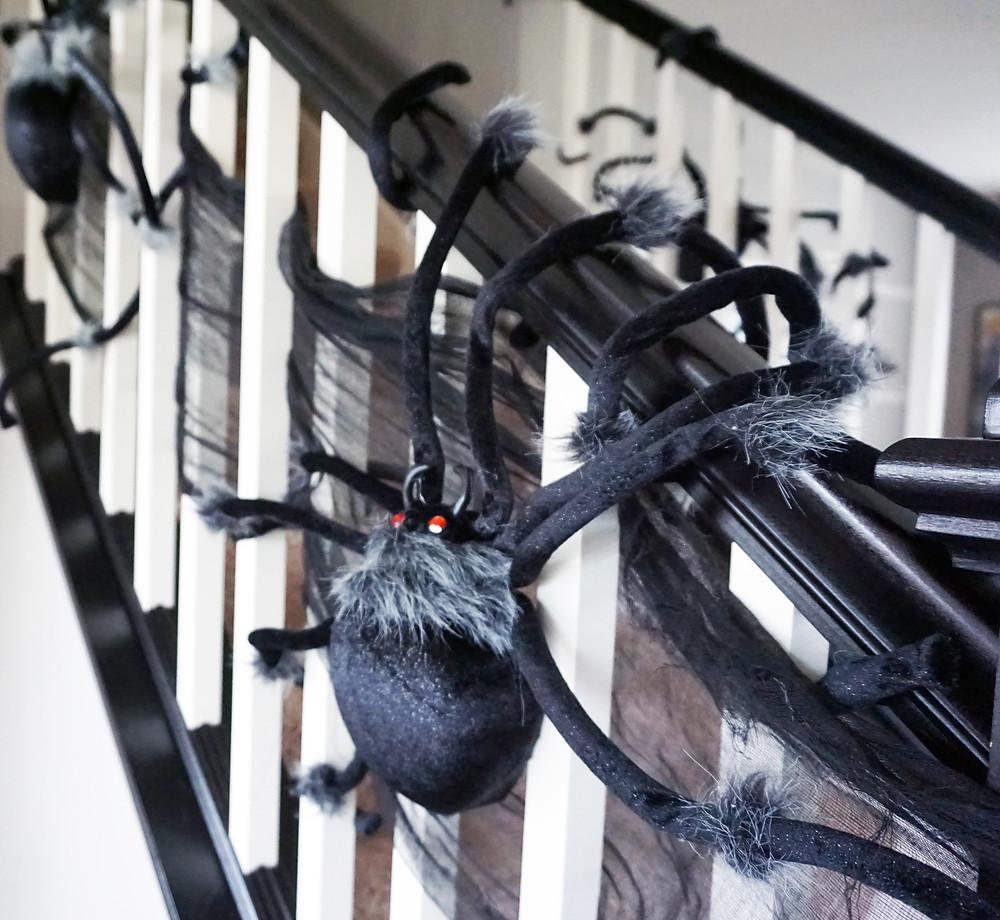 EH Design Blog - Halloween Decorations - Large spiders on banister