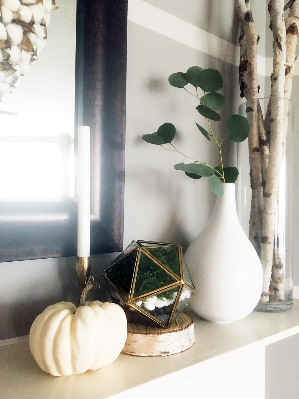 Fall Decor - EH Design Blog - Family Room - Mantel - Close Up Birch