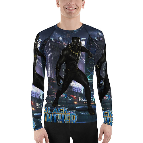 City Skyline with Black Panther Inset Men's Rash Guard