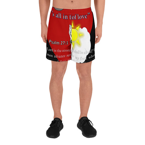 It's all in the Spirit Of Love Psalm 27:1 Men's Athletic Long Shorts