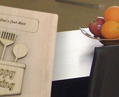 Recipe book on table