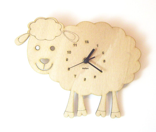 Handmade Decorative Wall Clock Decorate Your Child Room All Wood Is In Their Natural Color Texture Without Any Dyeing Process