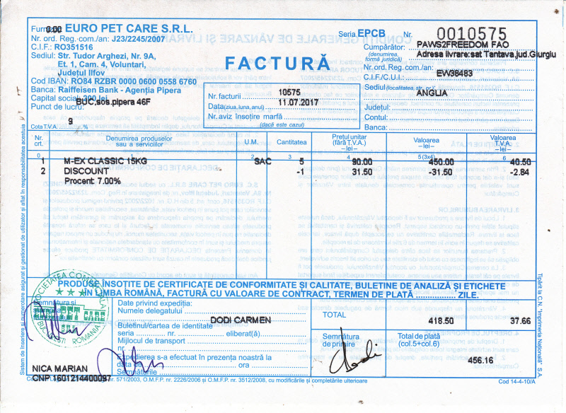 Invoice Dog Food