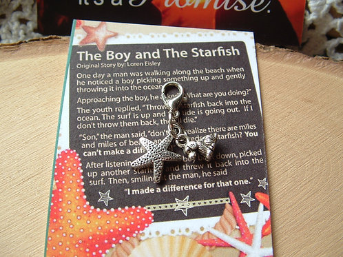 Starfish Rescue ~ With story card ~ Double Clip on Charm Starfish and Doggy