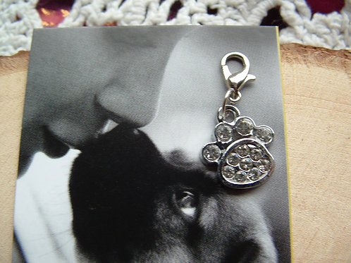 Jewelled Paw ~ Clip-on Charm - Sparkly Crystal Paw