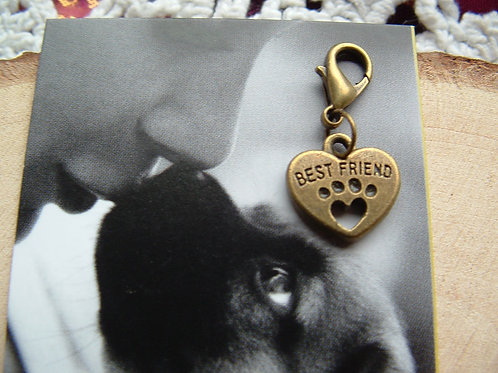 Bronze Best Friend Heart with embossed Paw ~ Clip-on Charm - Bronze Colour