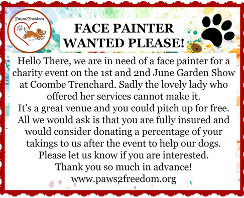 Face Painter needed for Paws2Freedom at