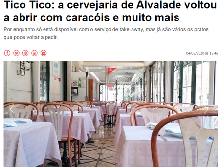 Revista NIT: Restaurante Tico Tico em regime Take Away