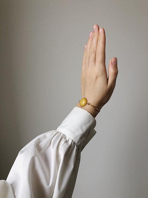Позолоченный браслет с ятарнм, размер 15