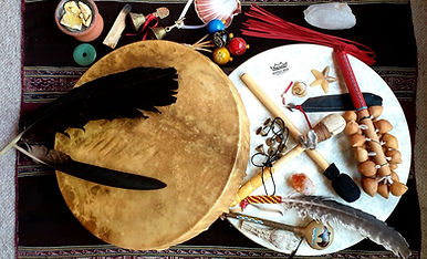 Reiki-Drumming-my-drums-and-rattles-980x
