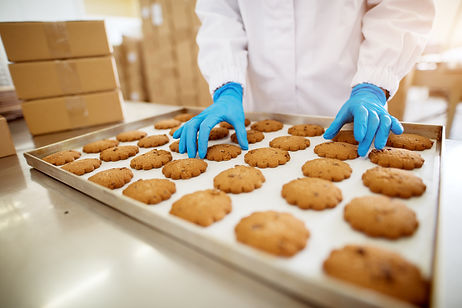 Close up view of freshly baked cookies o