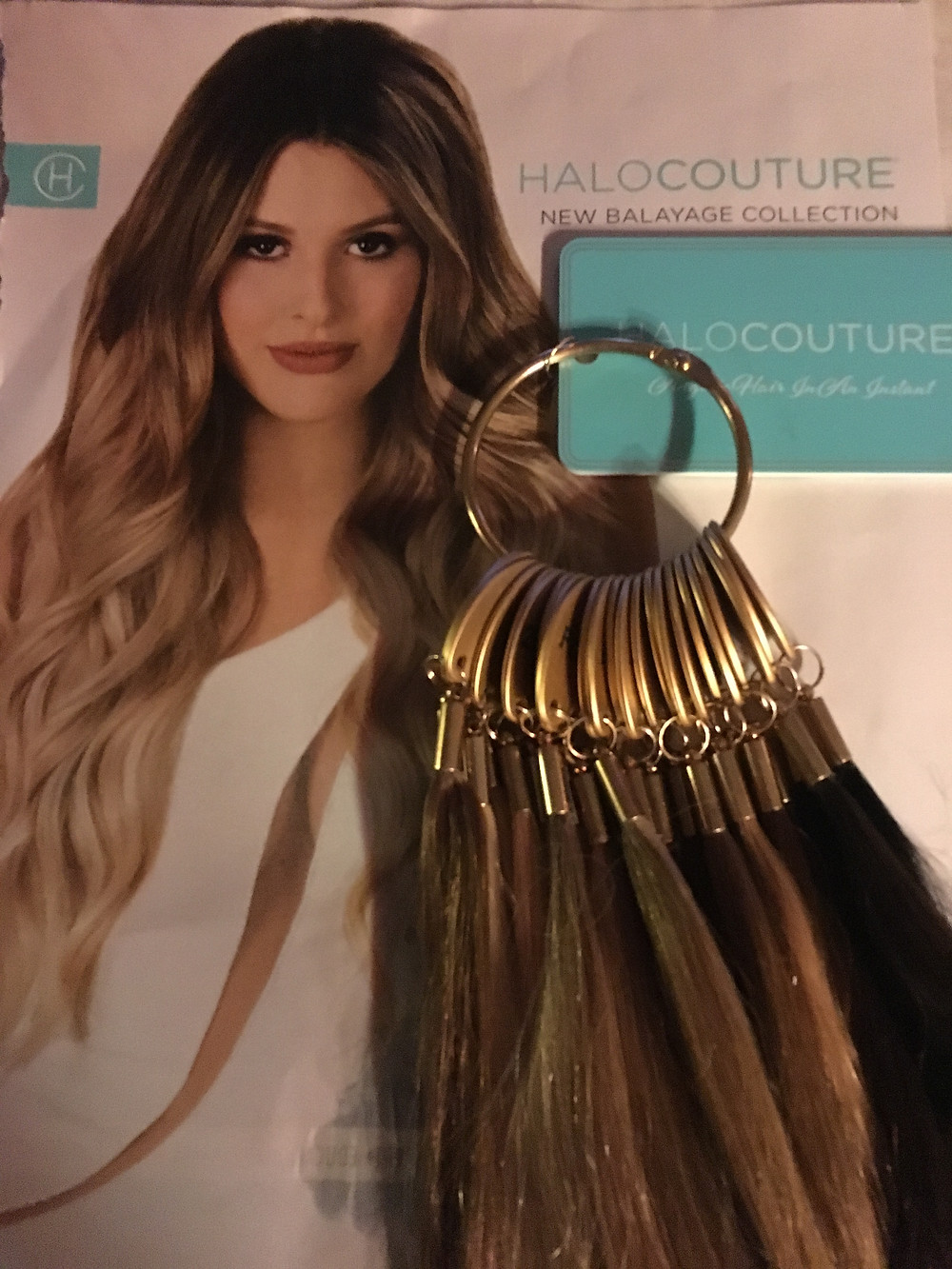 and excited to announce the new arrival of Halocouture's lastest hair extensions colors...Balayage!!!!  Halocouture 100% Human Hair Extensions come in 23 different colors but now there are seven new colors within the balayage line.  Balayage is a technique for highlighting the hair in which the color is painted on, in such a way as to create a graduated, natural-looking effect.  All seven new balayage colors are lighter towards the end of the extension which are all beautiful.  HaloCouture Extensions come in four different lengths - 12 inch, 16 inch, 20 inch, and 24 inches. They are a basic equivalent to a full head of hair, adding about 70-120 grams of hair. HaloCouture can be worn daily or just for special occasions and remove the extension as easily as applying the extension. HaloCou