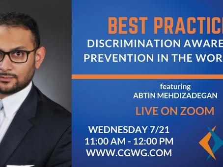 UPCOMING WEBINAR | Best Practices: Discrimination Awareness & Prevention (July 21, 2021)
