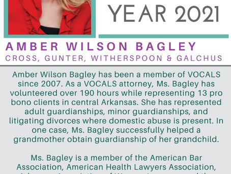 Amber Wilson Bagley Named VOCALS Attorney of the Year 2021 for Pro Bono Commitment