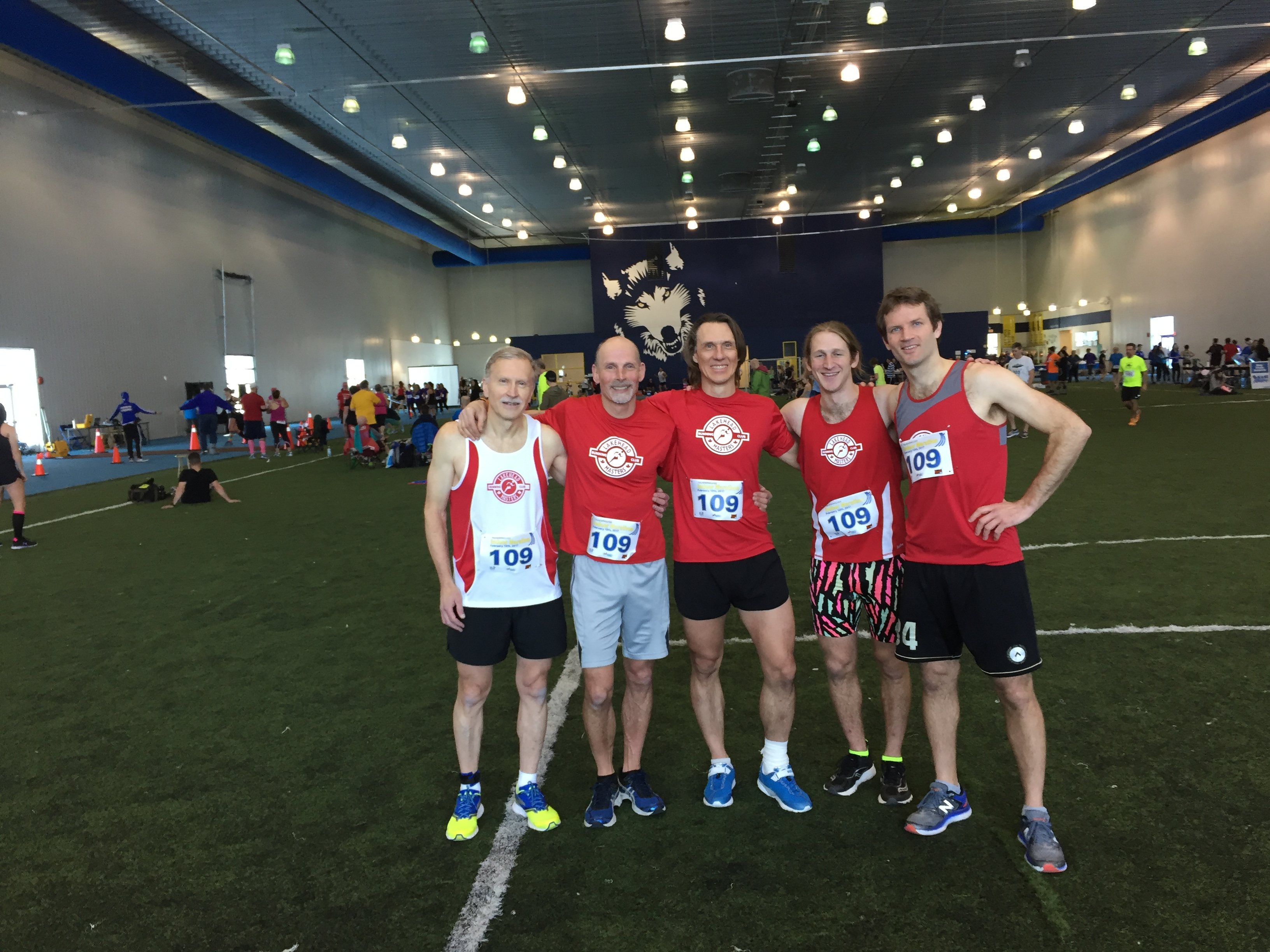 Lakehead Masters 1st place team, Thunderwolves Indoor Marathon, 2017