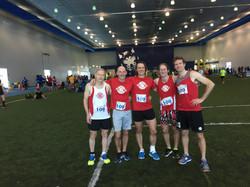 Lakehead Masters 1st place team, Thunderwolves Indoor Marathon, 2017
