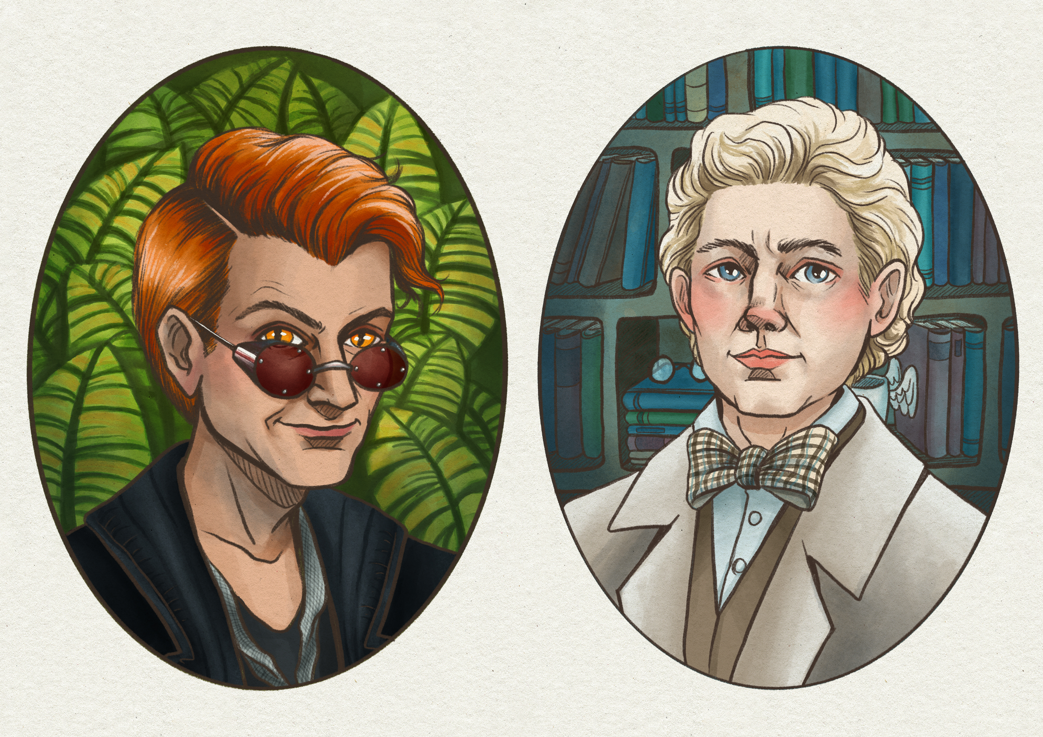 Good Omens - Water Color Portraits