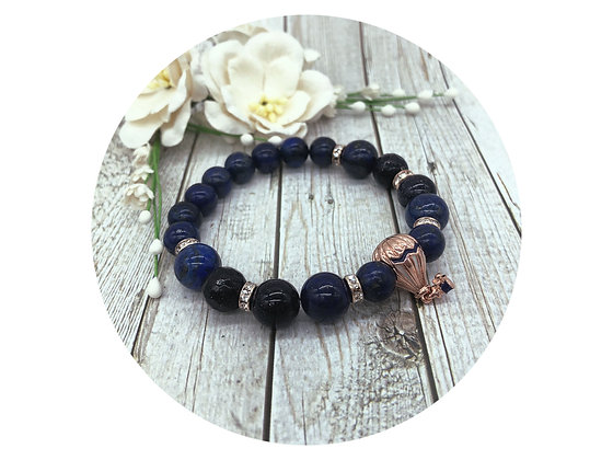 goldstone lapis lazuli gemstone bracelet