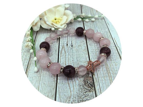 rose quartz lepidolite cross bracelet