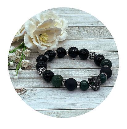 moss agate and black onyx gemstone healing bracelet