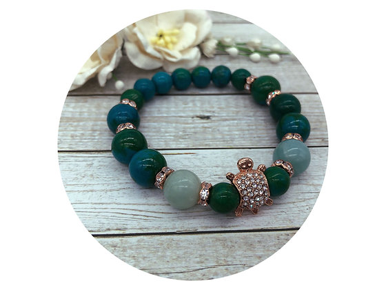 chrysocolla amazonite rose gold turtle gemstone bracelet