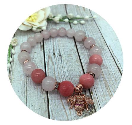 rose quartz pink chalcedony gemstone bracelet