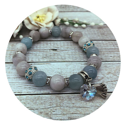 aquamarine crazy agate gemstone bracelet