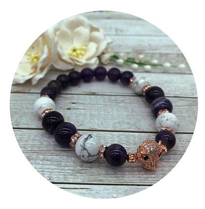 amethyst howlite rose gold gemstone bracelet