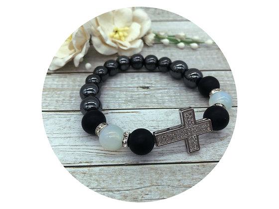 black onyx opal hematite gemstone rhinestone cross bracelet