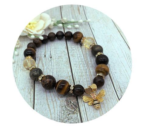 tiger's eye citrine pyrite bronzite gemstone bracelet