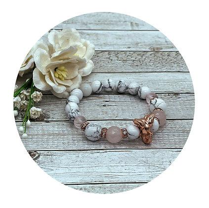 Howlite and rose quartz healing gemstone bracelet