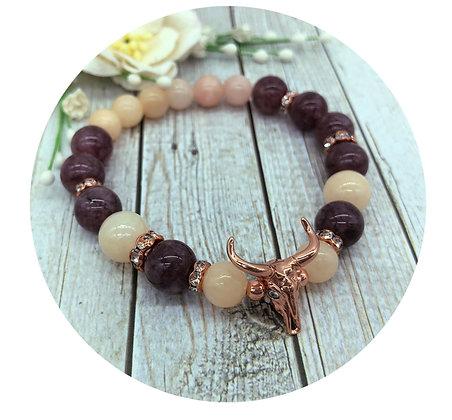 lepidolite morganite gemstone bracelet