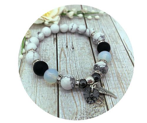 howlite black onyx opal gemstone bracelet