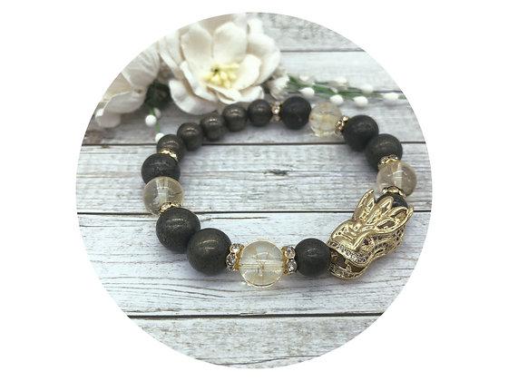 pyrite citrine gold dragon gemstone bracelet