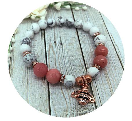 howlite pink chalcedony gemstone bracelet