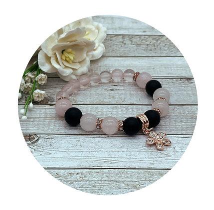 rose quartz and onyx gemstone healing crystal