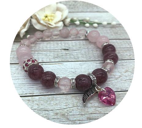 lepidolite rose quartz swarovski crystal gemstone bracelet