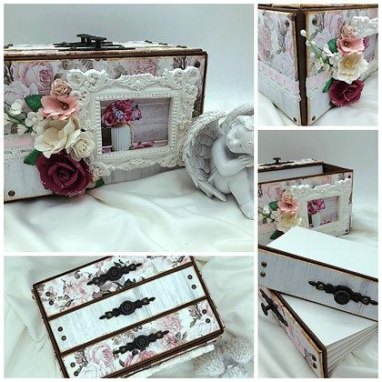 pink shabby rose photo box photo album