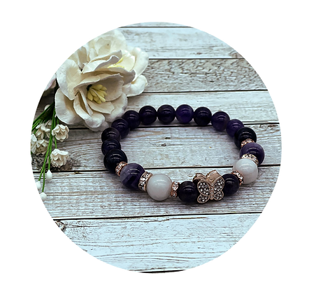 amethyst and crazy agate gemstone healing bracelet