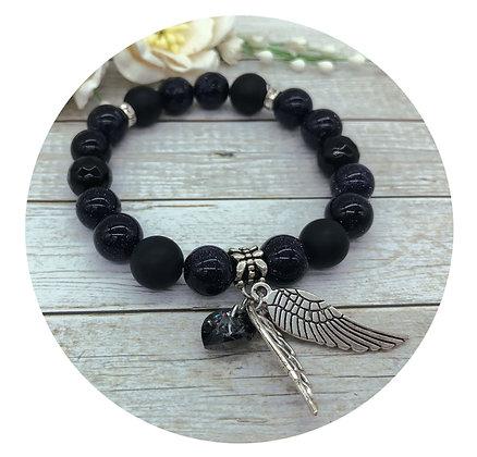 black onyx goldstone Swarovski crystal gemstone bracelet