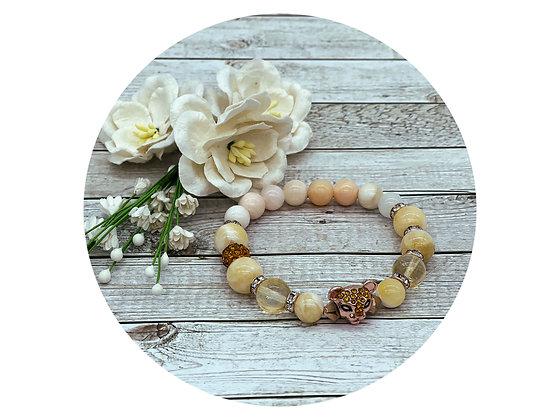 Morganite and citrine gemstone bracelet