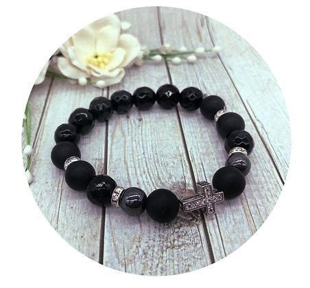 black onyx hematite gemstone bracelet