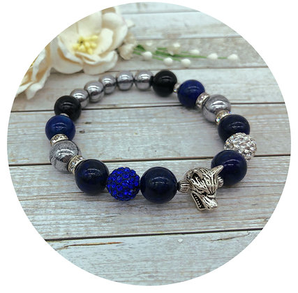lapis lazuli hematite gemstone bracelet