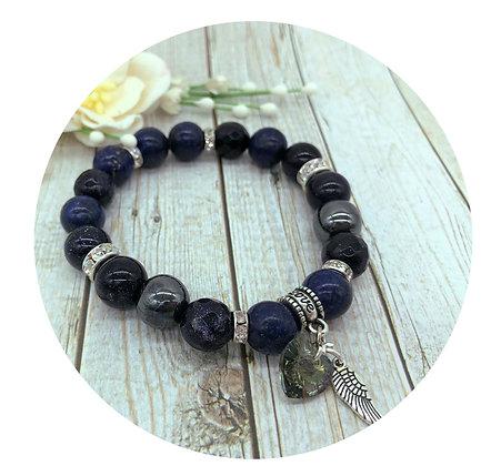 goldstone lapis lazuli hematite gemstone bracelet