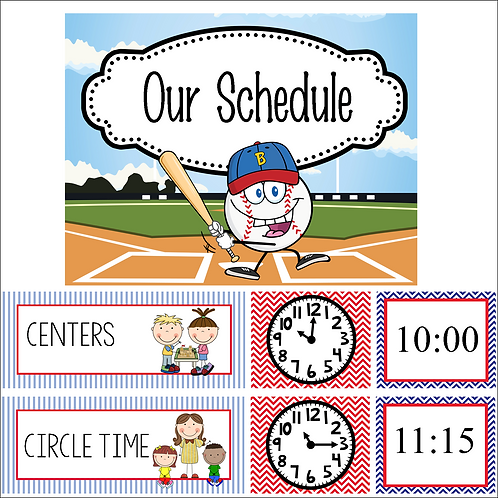 BASEBALL -Schedule Cards and Clocks - illustrated, Editable, MS Word