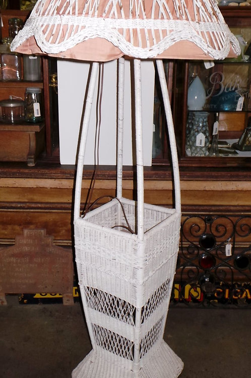 Wicker Parlor Floor Lamp With Umbrella Stand